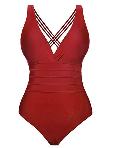 Aibrou Traje de Baño Cuello en V Profundo Sexys Bañador Una Pieza Halter con Espalda Vendaje bañadores Mujer reductores Monokini, (Rojo, S)