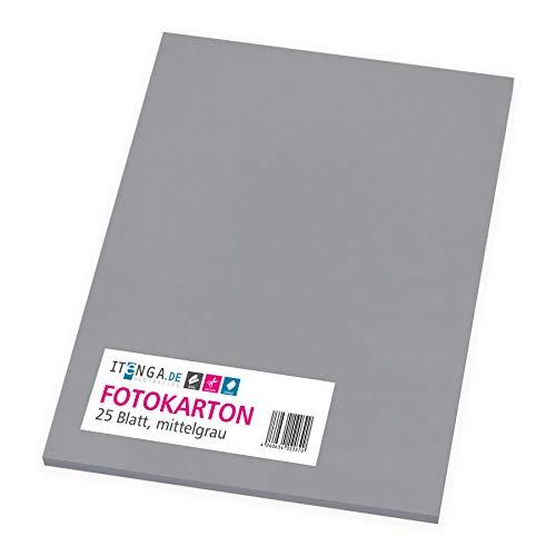 itenga Fotokarton 25 Blatt A4 300 g/qm - Tonpapier Tonkarton Druckerpapier Bastelpapier Bogen durchgefärbt zum kreativen Gestalten und Basteln (Mittelgrau)