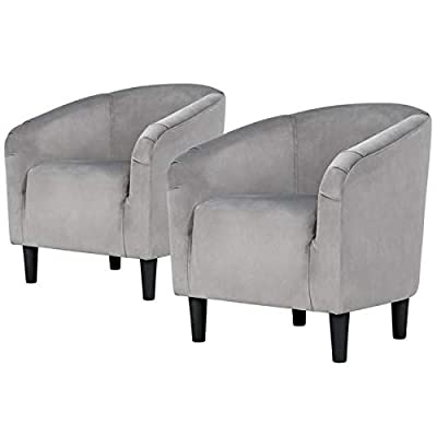 YAHEETECH Velvet Accent Chair Arm Chair - Accent Barrel Chair - Set of 2 - Gray