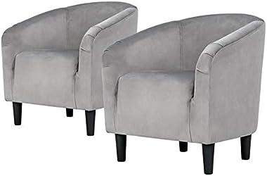 YAHEETECH Velvet Accent Chair Arm Chair - Accent Barrel Chair - Set of 2 - Gray