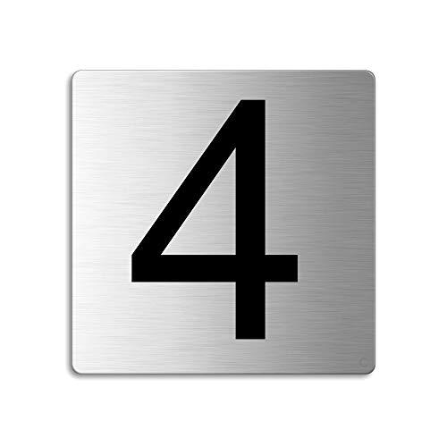 Plaque Numéro de porte 4 | 85x85 mm autocollant | acier inox brossé Nr.48304