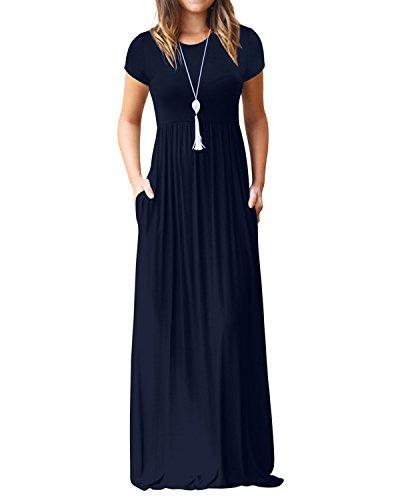 Kidsform Maxi Kleid Damen Casual Sommerkleid Kurzarm Lange Kleid Mit Tasche Lose Strandkleider HoheTaille A-Navy L