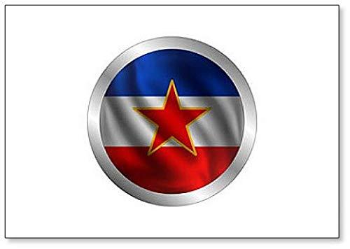 Waving Joegoslavië vlag, de vlag van Joegoslavië in een cirkel Koelkast magneet