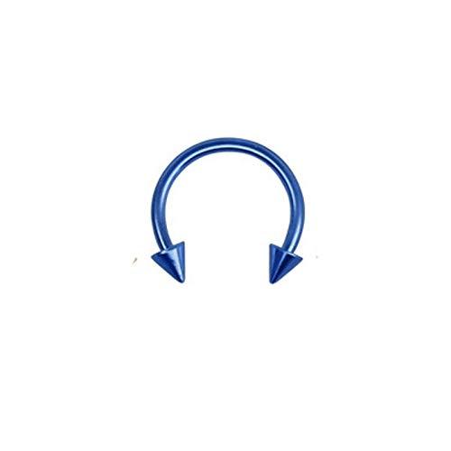 AnazoZ 1PC Piercing Aro Oreja Acero Quirurgico Azul U Cono 8MM Azul Pendiente Nariz Hombre