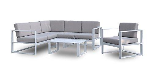SLAAP - Conjunto de jardín Compuesto por: 1 Sillón, 1 sofá en L de 5 plazas, y 1 Mesa de Centro.