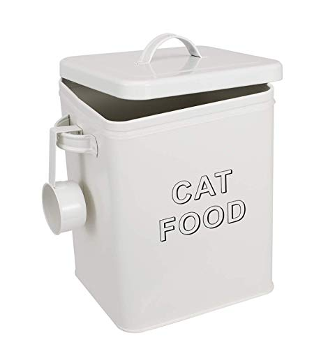 Morezi Cat Treat and Food Storage Tin with Lid - Cream...