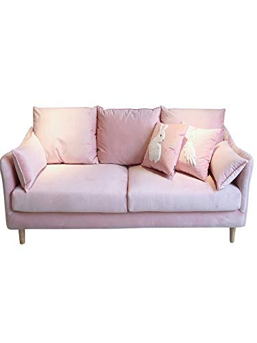 Nordic Simple ins Wind Double Three-Person Fabric Sofa Small Apartment Bedroom Apartment Pink Fully Removable and Washable Sofa