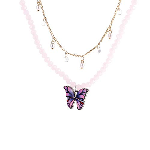 M/W 2pcs Neckless Pendant Jewelry for Women,Charming Crystal Beads Clavicle Chain Choker Butterfly Double Layer Necklace Wedding Neck Chain for Her/Mum/Wife/Sisters/Friends