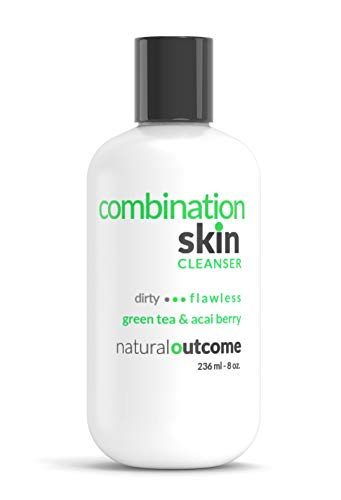 Combination Skin Flawless Facial Cleanser Green Tea & Acai Berry - by Natural Outcome Skincare, Face Wash and Cleansing Gel for Men & Women - Cruelty Free 8 oz