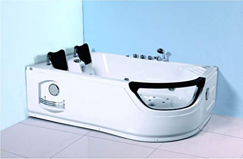 SDI Factory Direct 2 Person Corner Hydrotherapy Whirlpool Bathtub Spa Massage Therapy Hot Bath Tub w/Heater. LED Lights, Bluetooth, Remote Control - SYM634L