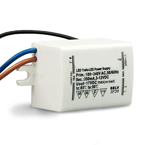 Isolicht LED Trafo 350mA, 1-4Watt, 3-12Volt DC (Gleichstrom), Driver, Treiber, Netzteil, für den Innenbereich, für den Einsatz mit LEDs geeignet, Konstantstrom