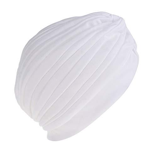 perfeclan Sombrero de Cáncer Quimio Pérdida de Cabello Gorro de Indio Pañuelo Plisado de Cabeza para Mujer Vintaje