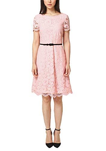 s.Oliver BLACK LABEL Damen Tailliertes Spitzenkleid mit Gürtel Partykleid, Rosa (Sweet Nude 4016), 44