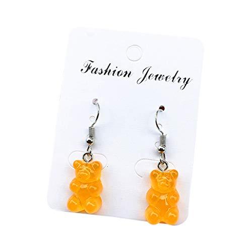 KLOVA Pendientes de señora, 1 par Creativo Lindo Mini Pendientes de Oso de Goma minimalismo diseño de Dibujos Animados Ganchos de Oreja Femeninos Colgantes joyería Regalo-Naranja