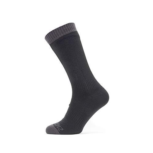 SEALSKINZ Waterproof Warm Weather Mid Length Sock Unisex Adult, Black/Grey, Large