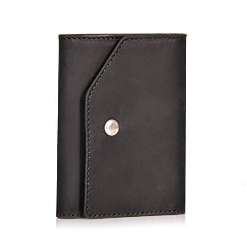 Donbolso Mini Geldbeutel Hamburg Herren RFID Geldbörse Kartenetui mit Münzfach Leder Karten Portemonnaie Männer Klein Slim Wallet Schwarz