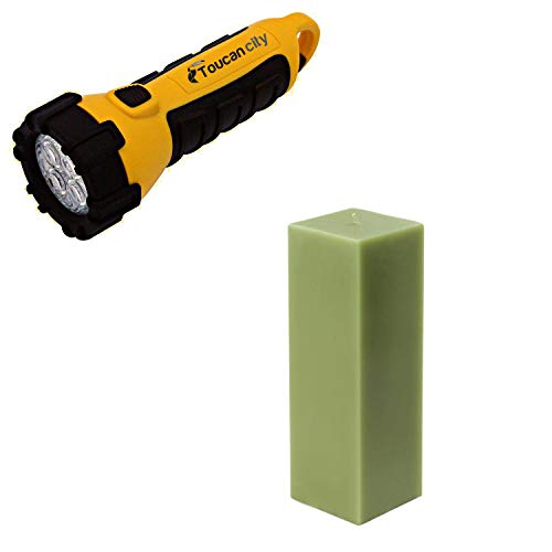 Toucan City LED Flashlight and Zest Candle 3 in. x 9 in. Sage Green Square Pillar Candle Bulk (12-Box) CPZ-157_12