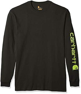 Carhartt Men's Big Big & Tall Signature Logo Long Sleeve T Shirt K231, peat, Large/Tall