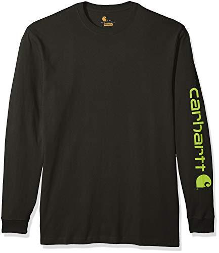 Carhartt Men's Big Big & Tall Signature Logo Long Sleeve T Shirt K231, peat, X-Large/Tall
