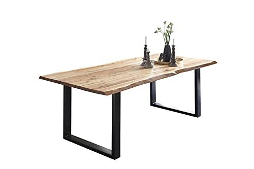 SAM Esszimmertisch 140x75 cm Billy, echte Baumkante, Esstisch aus Akazienholz massiv + naturfarben, Baumkantentisch mit U-Gestell Schwarz