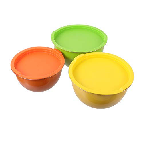 HEMOTON 3Pcs Stainless Steel Mixing Bowl Salad Bowls Cereal Bowls Food Serving Cooking Pot Wash Basin with Lid for Fruits Veggies Snacks 8cm 20cm 22cm (Assorted Color)