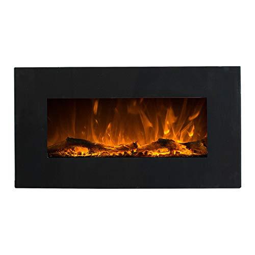GLOW FIRE Elektrokamin mit Heizung, Wandkamin mit LED | zuschaltbarer Heizlüfter mit 750 oder 1500 W | Fernbedienung (Größe S - 84 cm, Schwarz)