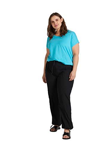 Zizzi Damen Loose Fit Hose mit Bündchen Bequeme Sommerhose Große Größen 42-56