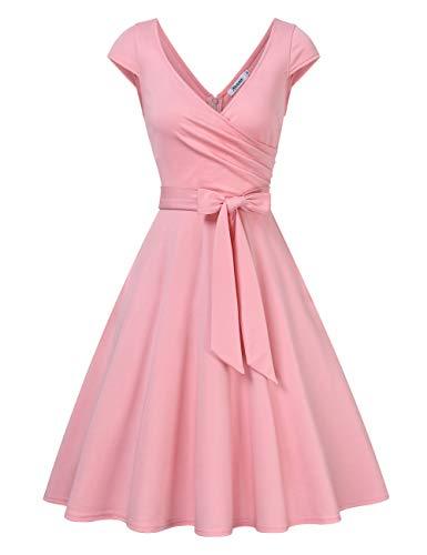 KOJOOIN Damen Vintage 50er V-Ausschnitt Abendkleid Rockabilly Retro Kleider Hepburn Stil Cocktailkleid Rosa 【EU 38-40】/M