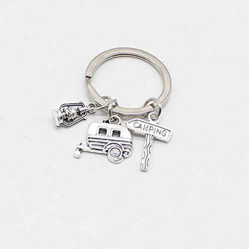 N/ A XYNNFW Modeschmuck Mini Camping Laterne Happy Keychain, Kilt Pin, Verkehrsschild, Handmade Car Silver Keychain