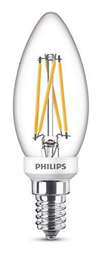 Philips Lampadina LED Oliva Filamento, Equivalente a 25W, Attacco E14, Luce Bianca Calda, Dimmerabile