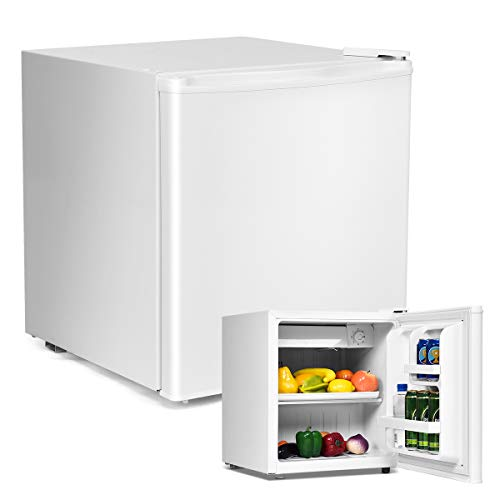 COSTWAY 48L Mini Kühlschrank Kühl-Gefrier-Kombination Flaschenkühlschrank Getränkekühlschrank mit Gefrierfach/wechselbarer Türanschlag / 7 Temperaturstufe einstellbar / 49cm Höhe (Weiß)