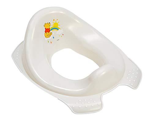 Perl Premium Kinder-Toilettensitz Disney Winnie Puuh für Kleinkinder stabiler WC-Sitz mit Anti-Rutsch-Funktion perl weiß mit einzigartiger Maserung individueller angenehmer Glitzereffekt
