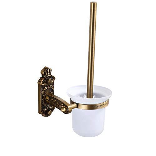WJX Antique Brosse de Toilette et Support, Brosse en Silicone Souple avec séchage Rapide Porte Ensemble, Brosse Longue compacte, Mur-monté