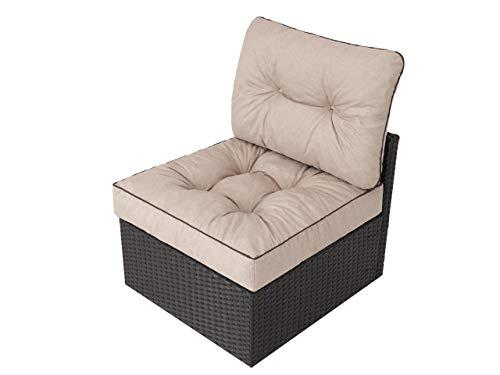 Cojín para muebles de jardín, acolchado de ratán, cojín decorativo de repuesto, para sillón de ratán de polietileno, 70 x 70 x 42 cm, color beige