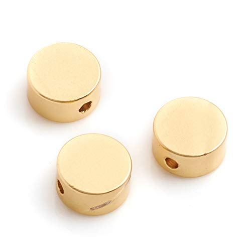 Craftdady 50Pcs 14K Matte Gold Flat Round Spacer Beads Textured Solid Brass Tiny Coin Disc Loose Beads 6x3mm for Bracelet Necklace Jewelry Making Hole: 1mm