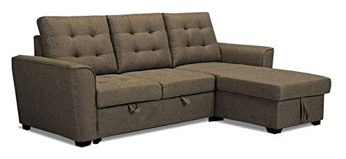 MUEBLIX.COM | Sofa Cama 3 Plazas Chaiselongue Intercambiable Taylor | Sofas de Salón Modernos | Asientos y Respaldo Espuma | Sofa con Estructura de Madera y Patas Metal | Color Marron