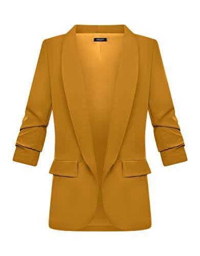Zarlena Damen Blazer 3/4-Ärmel elegant lang Reverskragen Jacke Sakko Anzug Gelb XXL