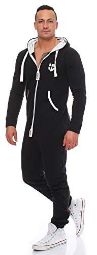 Gennadi Hoppe Herren Jumpsuit Onesie Jogger Einteiler Overall Jogging Anzug Trainingsanzug Slim Fit,schwarz,XXX-Large