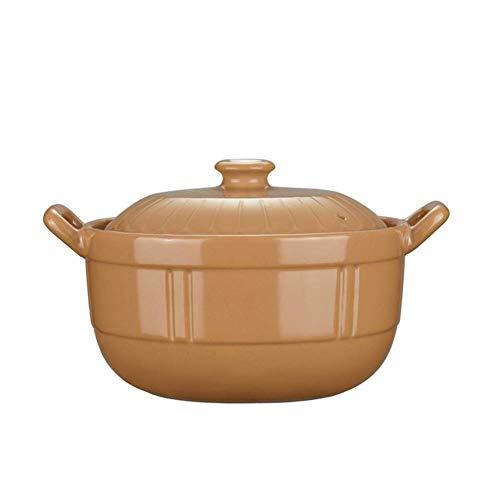 XIAOYANG Cazuela Cazuela de cerámica de la olla de tierra de SGGGGDROD, Stockpot Withlid, Pote de arcilla, Crocks de cebolla Casserole Crockpot, Cocina lenta, Utensilios de cocina saludables Amarillo