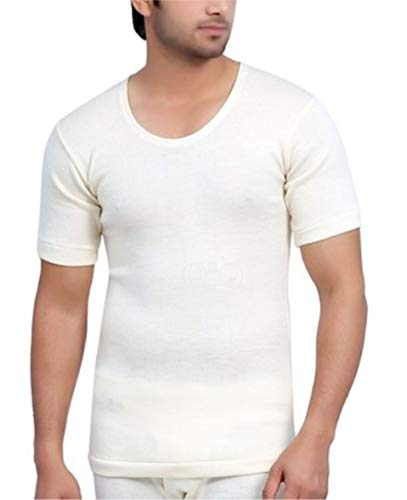 QNQ Monte Carlo Men's Pure Wool Thermal Half Sleeves (TOP) (Off White) (40)