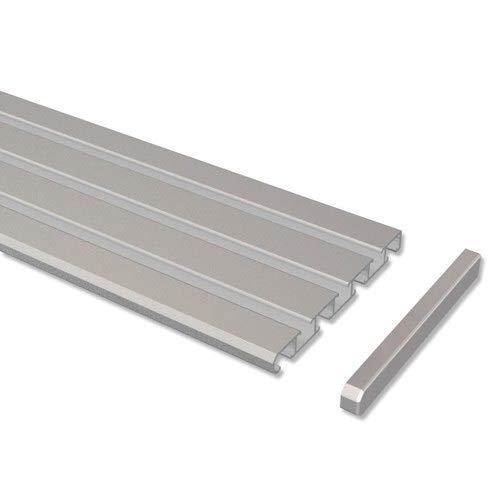 INTERDECO Gardinenschienen Silber-Grau 3-/4-läufige Vorhangschienen aus Aluminium, Slimline, 200 cm