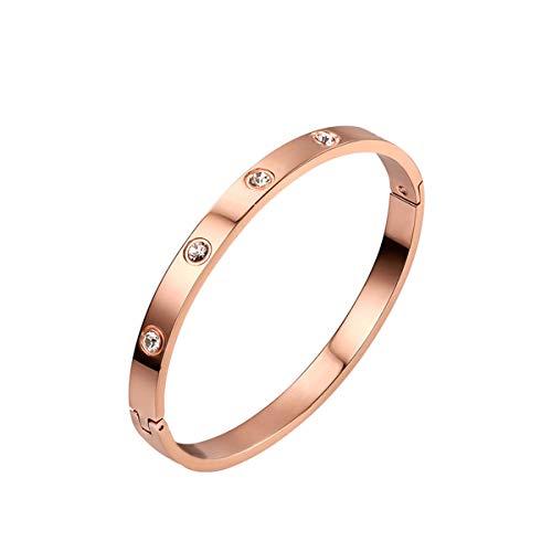 CNNIK Pulsera de oro rosa para mujeres y niñas, brazalete de acero de titanio con circonita cúbica, regalo para esposa, novia, madre en cumpleaños, boda, aniversario, día de la madre