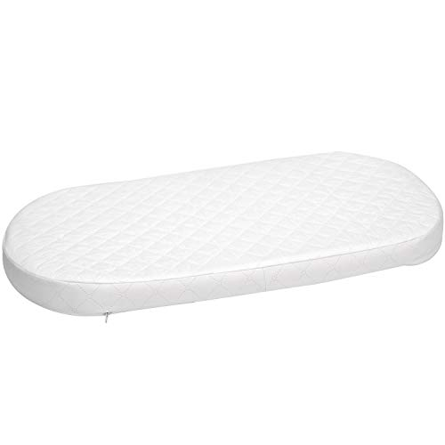Big Oshi Waterproof Oval Baby Bassinet Mattress – Waterproof Exterior – Thick, Soft, Breathable Foam Interior – Comfy, Padded Design, Also Fits Portable Bassinets, 13 x 29 x 2 Inch