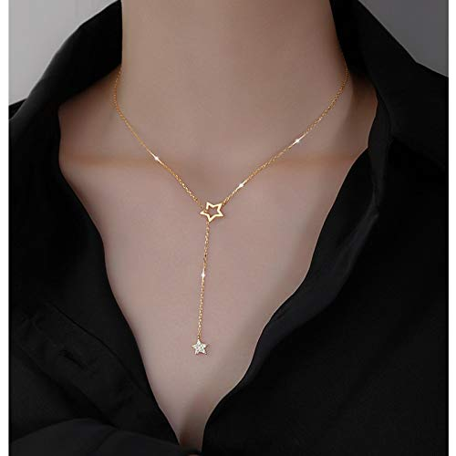 Necklace Gift 925 Sterling Silver Cute Shiny Star Choker Drop Charm Necklaces Charming Woman Wedding Party Birthday Jewelry gold