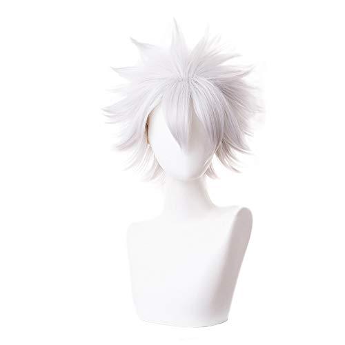 Missvig Cosplay Wig Demon Slayer Short Gray White Halloween Wig Synthetic Hair Anime Custom Party Hair