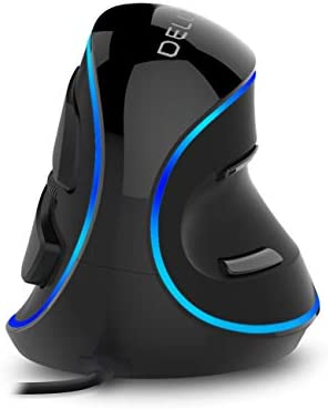 DeLUX Ergonomic Wireless Mouse with USB Receiver, 2.4G Wireless Vertical Mouse with 3 Adjustable DPI (800/1200/1600), 6 Buttons, Removable Wrist Rest for Laptop PC Computer (M618Plus Wireless-Black)