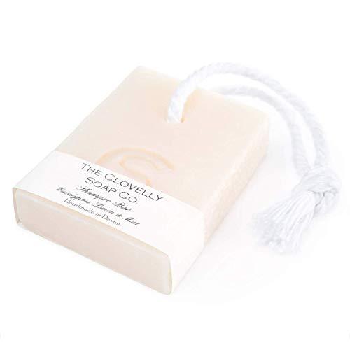 Clovelly Soap Co Natürliche handgemachte Haarseife Eukalyptus, Minze & Zitrone mit Schnur für trockenes bis normales Haar 100g
