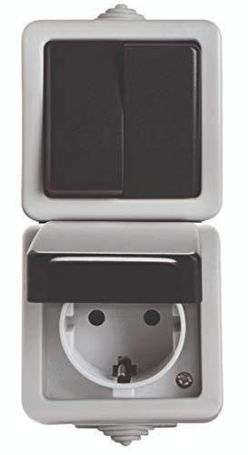 IP54 Aufputz Steckdose Ein- Aus Schalter Taster Steckdose Feuchtraum Schuko (Steckdose Vertikal mit Doppelschalter)