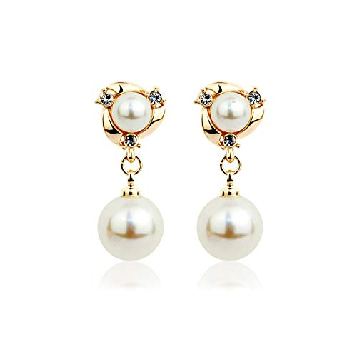 Trendy Round Pearl Stud Earrings For Women Classic Simple Rhinestone Earring Wedding Luxury Party Crystal Fine Jewelry Brincos,E014