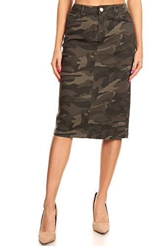 Women's Plus SizeHigh Waisted Stretch Fitted Midi Denim Skirt in Camouflage Print Size 1XL